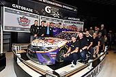 #11: Denny Hamlin, Joe Gibbs Racing, Toyota Camry FedEx Express, Christopher Gabehart and Coach Joe Gibbs at the Daytona 500 Champions breakfast and car induction