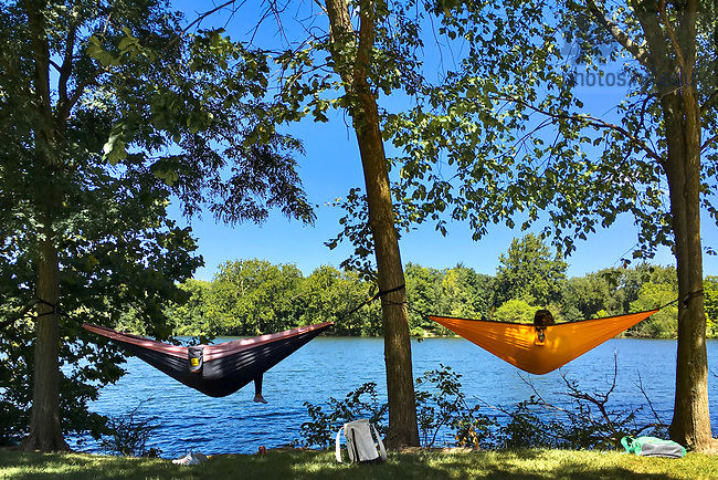 September 4, 2020; Students study and relax in hammocks by St. Mary's Lake. (Photo by Matt Cashore/University of Notre Dame)