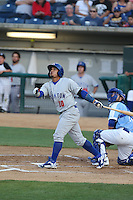 Franklin Barreto (10) of the Stockton Ports bats during a game against the Rancho Cucamonga Quakes at LoanMart Field on June 13, 2015 in Rancho Cucamonga, California. Stockton defeated Rancho Cucamonga, 14-2. (Larry Goren/Four Seam Images)