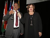 Mme Sylvie Vachon, PDG de l'Administration portuaire de Montreal (APM) remet au capitaine gagnant la Canne a pommeau d'or lors d'une ceremonie officielle au nouveau Terminal de croisieres de l'Administration portuaire de Montreal, le 3 janvier 2018.<br /> <br /> <br /> PHOTO : <br /> Agence Quebec Presse