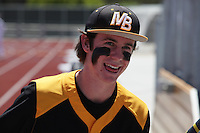 Mission Bay High School, San Diego CA, USA. Thursday, April 16th 2015:  Varsity baseball player Tim Daly smiles at the opening ceremony of the Mission Bay High School Stadium.  Over 1400 gathered to watch the ribbon cutting at the brand new facility on Thursday afternoon.