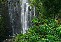 Cascading waters of Wailua falls on Maui in Hawaii