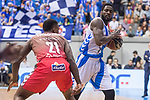 San Pablo Burgos Deon Thompson and Gipuzkoa Basket Michael Fakuade during Liga Endesa match between San Pablo Burgos and Gipuzkoa Basket at Coliseum Burgos in Burgos, Spain. December 30, 2017. (ALTERPHOTOS/Borja B.Hojas)