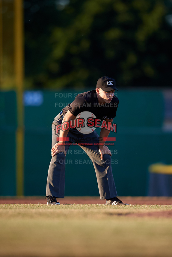 Umpire Jordan Sandberg during a game between the State College Spikes and Batavia Muckdogs on July 7, 2018 at Dwyer Stadium in Batavia, New York.  State College defeated Batavia 7-4  (Mike Janes/Four Seam Images)