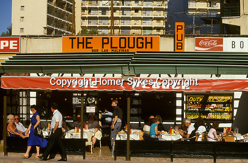 British owned restaurant Magaluf Majorca Spain Balearic Islands, Brits abroad on their holidays holiday 1980s