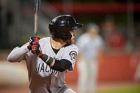 Jackson Generals right fielder Jason Morozowski (5) at bat during a game against the Chattanooga Lookouts on May 9, 2018 at AT&T Field in Chattanooga, Tennessee.  Chattanooga defeated Jackson 4-2.  (Mike Janes/Four Seam Images)