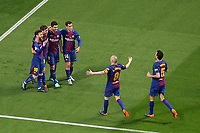 FC Barcelona's Luis Suarez, Philippe Coutinho, Sergi Roberto, Leo Messi, Andres Iniesta and Sergio Busquets celebrate goal during Spanish King's Cup Final match. April 21,2018. (ALTERPHOTOS/Acero)