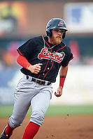 Great Lakes Loons third baseman Matt Beaty (10) running the bases during a game against the Kane County Cougars on August 13, 2015 at Fifth Third Bank Ballpark in Geneva, Illinois.  Great Lakes defeated Kane County 7-3.  (Mike Janes/Four Seam Images)