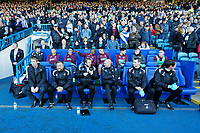 (L-R) Manager Graham Potter, Billy Reid, assistant manager, Bjorn Hamberg, assistant coach, goalkeeping coach Adrian Tucker, Physiotherapist, Ritson Lloyd and Dr. Jez McCluskey, Club Doctor of Swansea during the Sky Bet Championship match between Sheffield Wednesday and Swansea City at Hillsborough Stadium, Sheffield, England, UK. Saturday 23 February 2019
