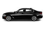 Car Driver side profile view of a 2021 BMW 5-Series 530i-Sport 4 Door Sedan Side View