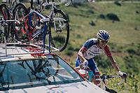 Arthur Vichot (FRA/Groupama-FDJ) with a quite  'sticky bidon' up the Comet de Roselend<br /> <br /> Stage 11: Albertville > La Rosière / Espace San Bernardo (108km)<br /> <br /> 105th Tour de France 2018<br /> ©kramon