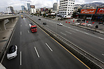 A view of empty road, in Beirut, Lebanon, 15 January 2021. Lebanon on 07 January began a complete 25-day closure nationwide, before announcing a comprehensive closure from 14 January with no exceptions but the health, security and press sectors to help stop the spread of the Coronavirus. Photo by Haitham Moussawi