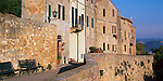 Tuscany, Italy:  Evening sun on Pienza's Via della Casello set on the hilltown's Renaissance stone walls