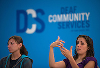 """From my assignment at the San Diego military photographers' workshop. Theme was """"Gesture."""" Using my rudimentary sign language skills I managed to talk my way into a meeting of the San Diego deaf community council."""