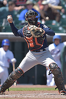 Vinny Rottino (4) of the New Orleans Zephyrs throws to second base against the Iowa Cubs at Principal Park on April 23, 2015 in Des Moines, Iowa.  The Zephyrs won 9-2.  (Dennis Hubbard/Four Seam Images)
