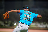 Miami Marlins outfielder Lorenzo Hampton Jr (38) during practice before an Instructional League game against the Washington Nationals on September 26, 2019 at FITTEAM Ballpark of The Palm Beaches in Palm Beach, Florida.  (Mike Janes/Four Seam Images)