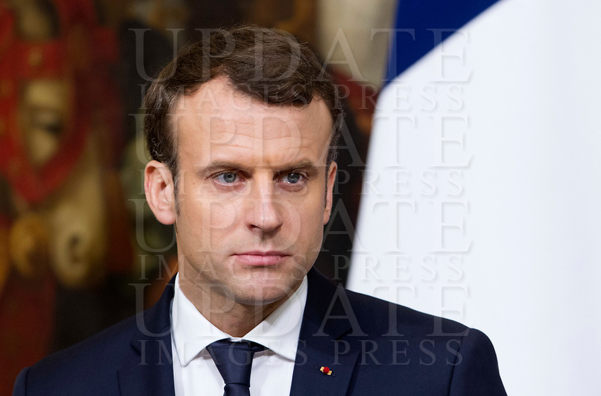 French President Emmanuel Macron attends a joint press conference with Italian Premier at Chigi Palace in Rome, January 11, 2018.<br /> UPDATE IMAGES PRESS/Riccardo De Luca<br /> <br /> ITALY OUT