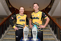 Maddy Green, captain of the Wellington Blaze and Michael Bracewell, captain of the Wellington Firebirds (L-R) Super Smash Captains photo opportunity at Basin Reserve, Wellington on Wednesday 23 December 2020.<br /> Copyright photo: Masanori Udagawa /  www.photosport.nz