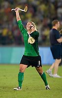USWNT goalkeeper Hope Solo celebrates after playing for the gold medal at Workers' Stadium.  The USWNT defeated Brazil, 1-0, during the 2008 Beijing Olympics women's soccer final in Beijing, China.