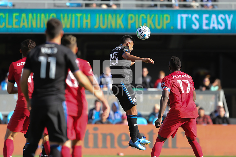 SAN JOSE, CA - FEBRUARY 29: Andy Rios #25 of the San Jose Earthquakes goes up for a header during a game between Toronto FC and San Jose Earthquakes at Earthquakes Stadium on February 29, 2020 in San Jose, California.