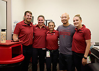 LOS ANGELES, CA - SEPTEMBER 11: Stanford Cardinal Athletic Trainers before a game between University of Southern California and Stanford Football at Los Angeles Memorial Coliseum on September 11, 2021 in Los Angeles, California.