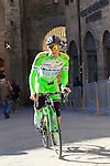 Enrico Barbin (ITA) Bardiani CSF team makes his way to sign on before the start of the 2015 Strade Bianche Eroica Pro cycle race 200km over the white gravel roads from San Gimignano to Siena, Tuscany, Italy. 7th March 2015<br /> Photo: Eoin Clarke www.newsfile.ie