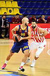 Turkish Airlines Euroleague 2020/2021. <br /> Regular Season-Round 10.<br /> FC Barcelona vs Crvena Zvezda MTS Belgrade: 76-65.<br /> Nick Calathes vs Branko Lazic.