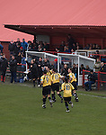 Workington AFC 0 Boston United 1, 24/02/2008. Borough Park, Blue Square North.  Boston United players celebrating their winning goal during the Blue Square North fixture between hosts Workington AFC (red) and Boston United at Borough Park. The visitors won with a solitary sixth-minute goal by Jon Rowan in front of 388 spectators. Both Workington AFC and Boston United were members of the Football League, the Cumbrians losing League status in 1977 while the Lincolnshire club were relegated in 2007 and demoted two divisions for financial irregularities. Photo by Colin McPherson.
