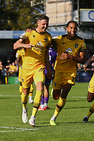 Richie Bennett (L) of Sutton United scores the second goal for his team and celebrates with Alistair Smith of Sutton United during Sutton United vs Stevenage, Sky Bet EFL League 2 Football at the VBS Community Stadium on 11th September 2021