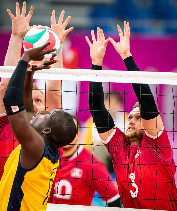Austin Hinchey, Lima 2019 - Sitting Volleyball // Volleyball assis.<br /> Canada competes for the bronze medal in men's Sitting Volleyball // Canada participe pour la médaille de bronze en volleyball assis masculin. 28/08/2019.