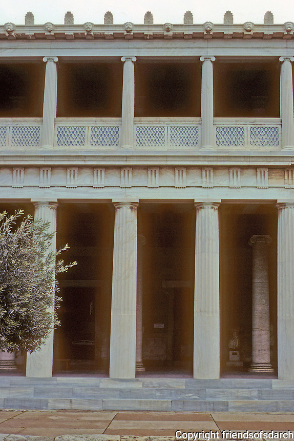 Athens: Stor of Attalus--elevation. Reconstructed. Photo '82.