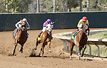 """DEL MAR, CA  AUGUST 27: #5 Masochistic and Tyler Baze head into the final turn ahead of #3 Vyjack and Flavien Prat, and #4 Indexical and Mario Gutierrez  in the Pat O'Brien Stakes (Gll) """"Win and You're In Dirt Mile Division""""  at Del Mar Turf Club on August 27, 2016 at Del Mar, CA (Photo by Casey Phillips/Eclipse Sportswire/Getty Images)DEL MAR, CA  AUGUST 27:  at Del Mar Turf Club on August 20, 2016 at Del Mar, CA (Photo by Casey Phillips/Eclipse Sportswire/Getty Images)"""