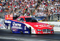 May 19, 2012; Topeka, KS, USA: NHRA funny car driver Johnny Gray during qualifying for the Summer Nationals at Heartland Park Topeka. Mandatory Credit: Mark J. Rebilas-