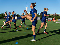 KASHIMA, JAPAN - AUGUST 4: Alex Morgan #13 of the USWNT warms up during a training session at the practice field on August 4, 2021 in Kashima, Japan.