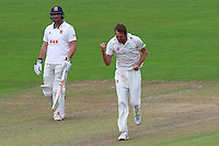 MichaelHogan of Glamorgan celebrates taking the wicket of Ravi Bopara during Glamorgan CCC vs Essex CCC, Specsavers County Championship Division 2 Cricket at the SSE SWALEC Stadium on 23rd May 2016