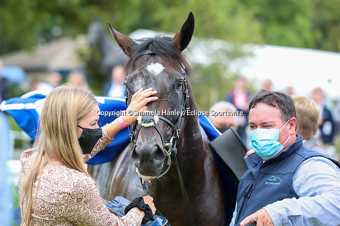 September 11, 2021: Atomic Jones (FR) #2, ridden by jockey Colin Keane prevails over the field to win the Group 2 KPMG Champions Juvenile Stakes on the turf on Irish Champions Weekend at Leopardstown Racecourse in Dublin, Ireland on September 11th, 2021. Shamela Hanley/Eclipse Sportswire/CSM