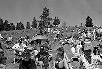 Spectators watch the annual Lincoln Rodeo in Lincoln, MT in June 2006.  The Lincoln Rodeo is an open rodeo, which means competitors need not be a member of a professional rodeo association.