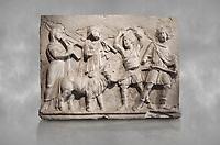 Roman relief sculpture of the Coronation of Hierapolis. Roman 2nd century AD, Hierapolis Theatre.. Hierapolis Archaeology Museum, Turkey