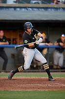 Bristol Pirates designated hitter Conner Uselton (25) swings at a pitch during a game against the Bluefield Blue Jays on July 26, 2018 at Bowen Field in Bluefield, Virginia.  Bristol defeated Bluefield 7-6.  (Mike Janes/Four Seam Images)