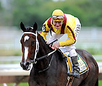 02 August 09: Rachel Alexandra and jockey Calvin Borel beat the boys again and win the Haskell Invitational at Monmouth Park in West Long Branch, New Jersey.