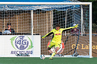 HARTFORD, CT - JULY 10: AJ Marcucci #40 of New York Red Bulls II takes a goal kick during a game between New York Red Bulls II and Hartford Athletics at Dillon Stadium on July 10, 2021 in Hartford, Connecticut.