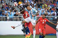 Action photo during the match Argentina vs Chile, Corresponding Group -D- America Cup Centenary 2016, at Levis Stadium<br /> <br /> Foto de accion durante el partido Argentina vs Chile, Correspondiante al Grupo -D-  de la Copa America Centenario USA 2016 en el Estadio Levis, en la foto: (i-d) Eduardo Vargas de Chile y Marcos Rojo de Argentina<br /> <br /> <br /> 06/06/2016/MEXSPORT/David Leah.