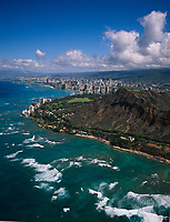 Diamond Head Crater, Aerial View, Oahu, Hawaii, USA.