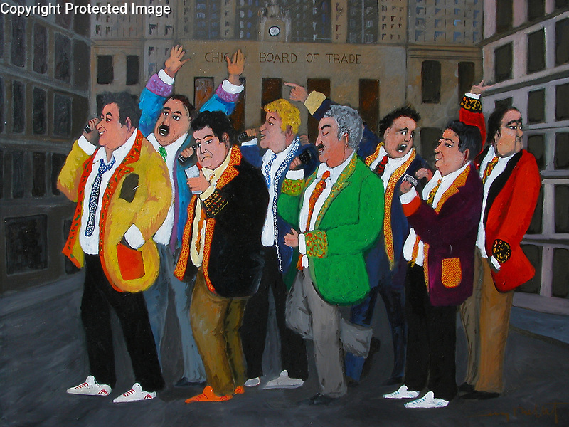Chicago Board of Trade<br /> 30x40 Acrylic on Canvas<br /> $25,000<br /> <br /> Guy visited the Chicago Board of Trade pre-9/11 and was invited to visit the trading floor. Before he went inside, he was quite amused by the traders in their colored jackets on their cell phones, so naturally, he painted them!