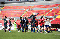 GUADALAJARA, MEXICO - MARCH 18: U-23 USMNT hydrate during a game between Costa Rica and USMNT U-23 at Estadio Jalisco on March 18, 2021 in Guadalajara, Mexico.