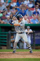 West Michigan Whitecaps left fielder Garrett McCain (10) at bat during a game against the Kane County Cougars on July 19, 2018 at Northwestern Medicine Field in Geneva, Illinois.  Kane County defeated West Michigan 8-5.  (Mike Janes/Four Seam Images)