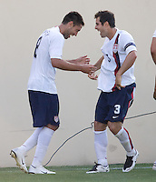 Clint Dempsey celebrates his goal with Carlos Bocanegra. The USA defeated China, 4-1, in an international friendly at Spartan Stadium, San Jose, CA on June 2, 2007.