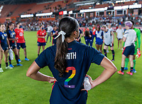 HOUSTON, TX - JUNE 13: Sophia Smith #2 of the USWNT stands in the huddle after a game between Jamaica and USWNT at BBVA Stadium on June 13, 2021 in Houston, Texas.