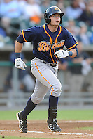 Montgomery Biscuits Matt Sweeney #30 runs to first during a game against  the Tennessee Smokies at Smokies Park in Kodak,  Tennessee;  April 13, 2011.  Tennessee defeated Montgomery 12-2.  Photo By Tony Farlow/Four Seam Images