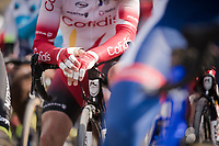 Roubaix gloves are different...<br /> <br /> 117th Paris-Roubaix 2019 (1.UWT)<br /> One day race from Compiègne to Roubaix (FRA/257km)<br /> <br /> ©kramon